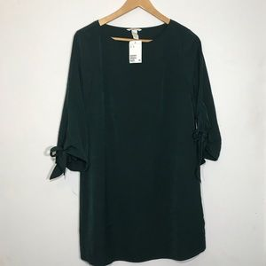 H&M Olive Green Shift Dress Tie Sleeves size 8